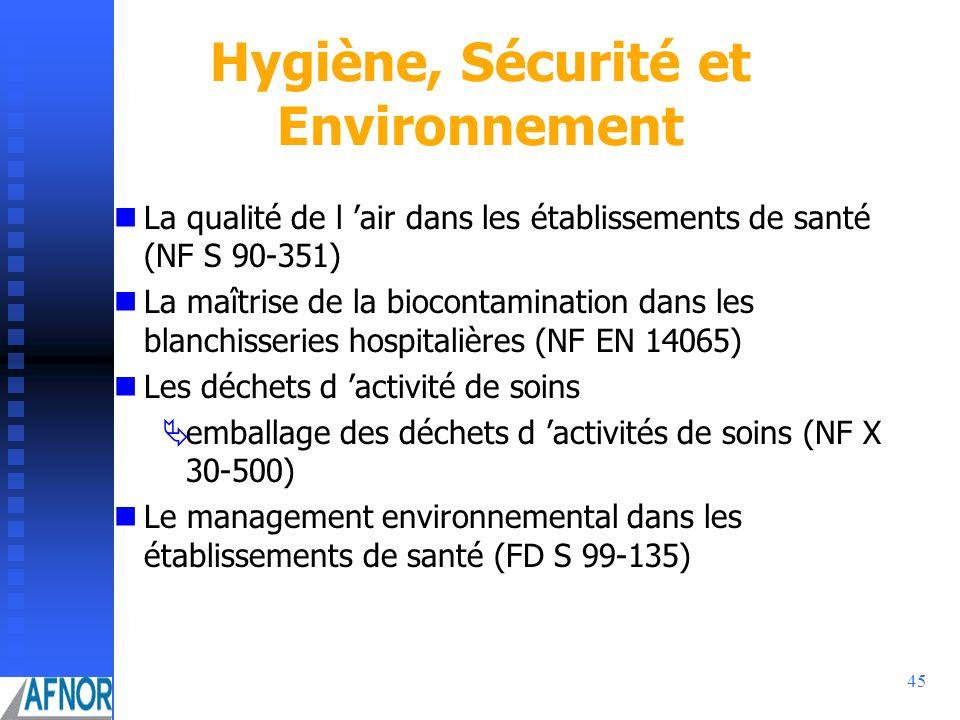 45 Hygiène, Sécurité et Environnement La qualité de l air dans les établissements de santé (NF S 90-351) La maîtrise de la biocontamination dans les b