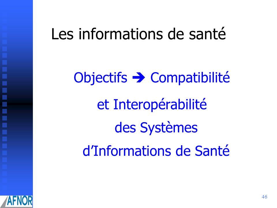 46 Les informations de santé Objectifs Compatibilité et Interopérabilité des Systèmes dInformations de Santé