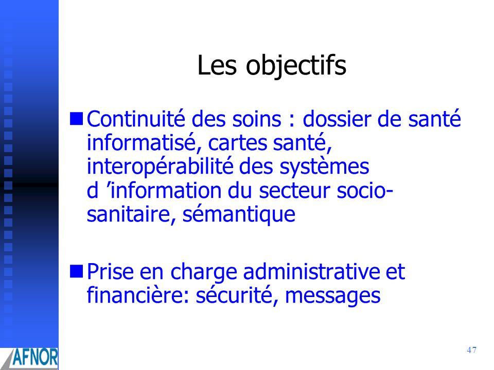 47 Les objectifs Continuité des soins : dossier de santé informatisé, cartes santé, interopérabilité des systèmes d information du secteur socio- sani