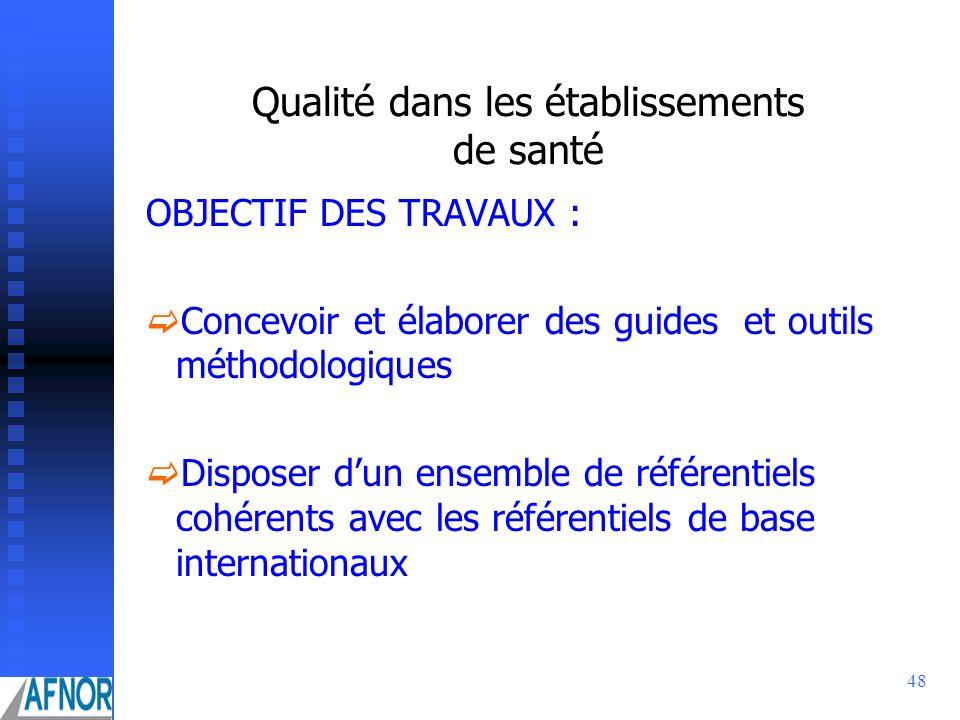 48 Qualité dans les établissements de santé OBJECTIF DES TRAVAUX : Concevoir et élaborer des guides et outils méthodologiques Disposer dun ensemble de