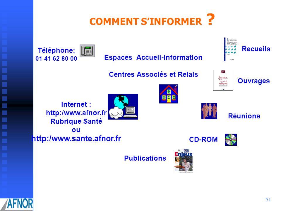 51 COMMENT SINFORMER ? Espaces Accueil-Information Centres Associés et Relais Publications Ouvrages CD-ROM Réunions Recueils Téléphone: 01 41 62 80 00