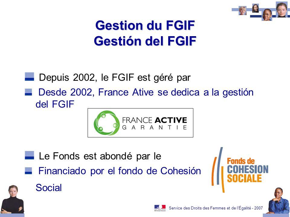 Service des Droits des Femmes et de lÉgalité - 2007 Gestion du FGIF Gestión del FGIF Depuis 2002, le FGIF est géré par Desde 2002, France Ative se dedica a la gestión del FGIF Le Fonds est abondé par le Financiado por el fondo de Cohesión Social
