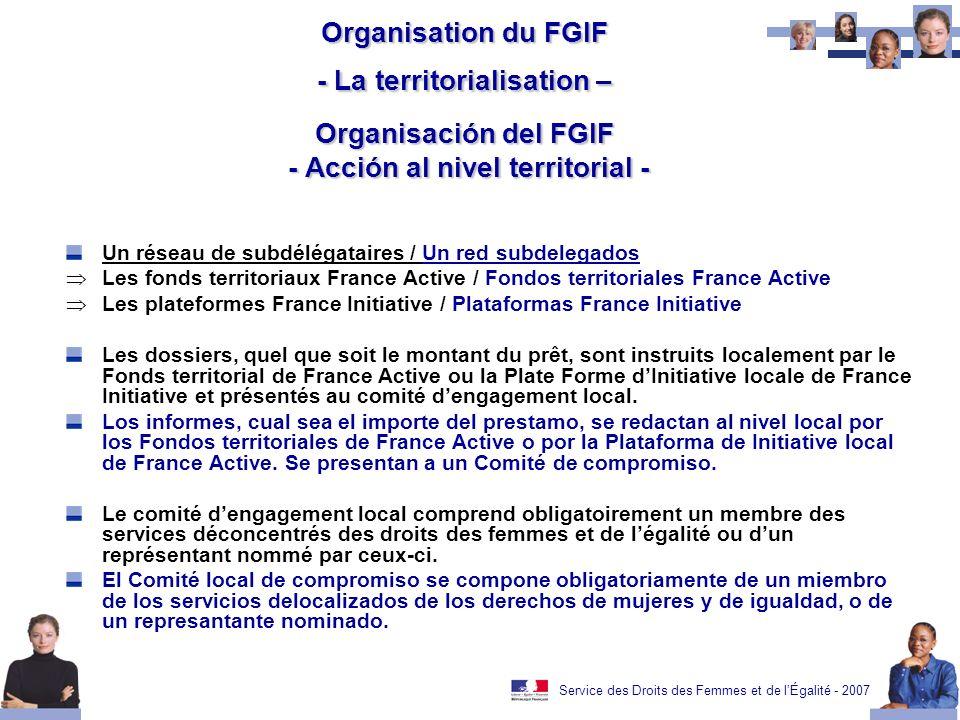Service des Droits des Femmes et de lÉgalité - 2007 Organisation du FGIF - La territorialisation – Organisación del FGIF - Acción al nivel territorial