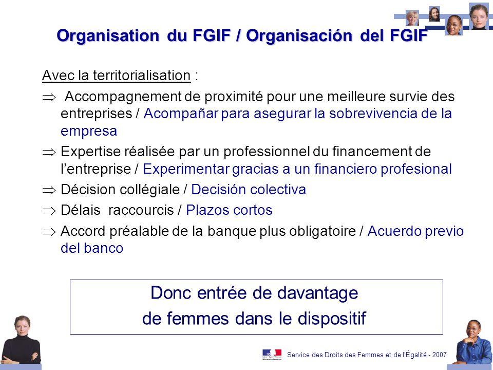 Service des Droits des Femmes et de lÉgalité - 2007 Organisation du FGIF / Organisación del FGIF Avec la territorialisation : Accompagnement de proxim