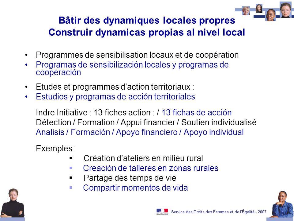Service des Droits des Femmes et de lÉgalité - 2007 Bâtir des dynamiques locales propres Construir dynamicas propias al nivel local Programmes de sens