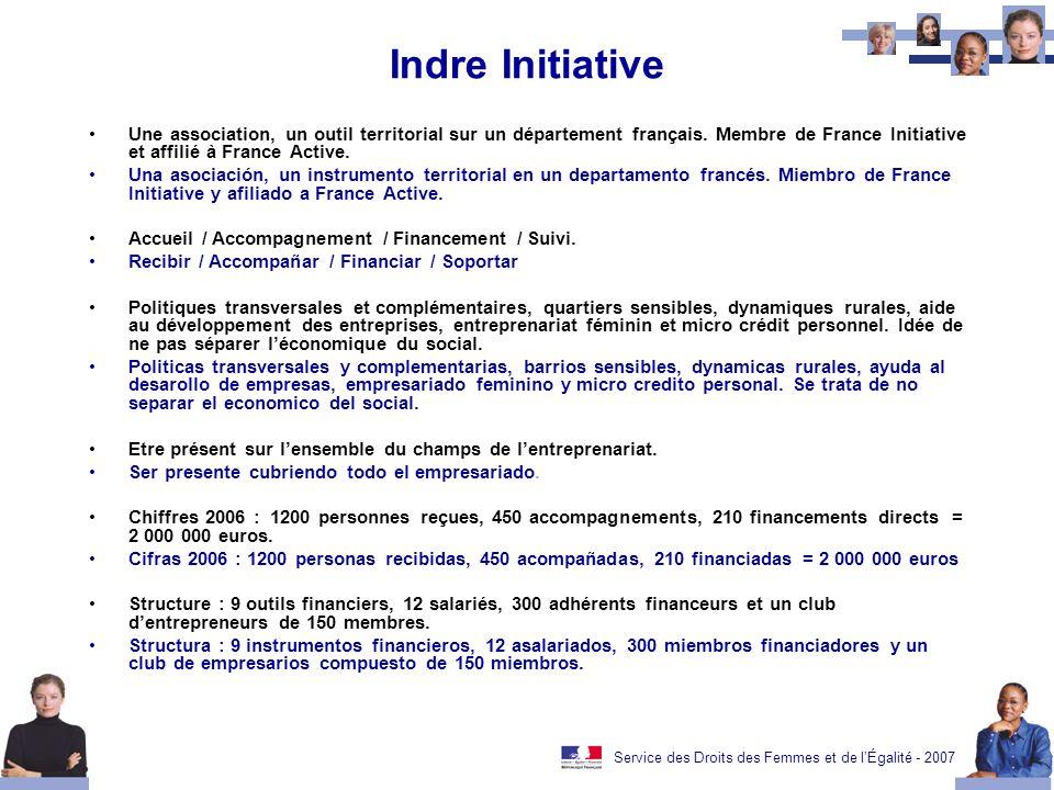 Service des Droits des Femmes et de lÉgalité - 2007 Indre Initiative Une association, un outil territorial sur un département français. Membre de Fran