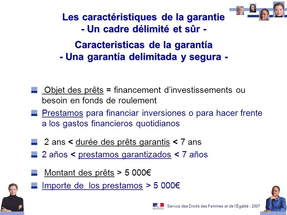 Service des Droits des Femmes et de lÉgalité - 2007 Les caractéristiques de la garantie - Un cadre délimité et sûr - Caracteristicas de la garantía -
