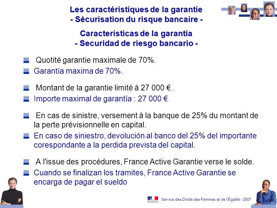Service des Droits des Femmes et de lÉgalité - 2007 Les caractéristiques de la garantie - Sécurisation du risque bancaire - Caracteristicas de la garantía - Securidad de riesgo bancario - Quotité garantie maximale de 70%.