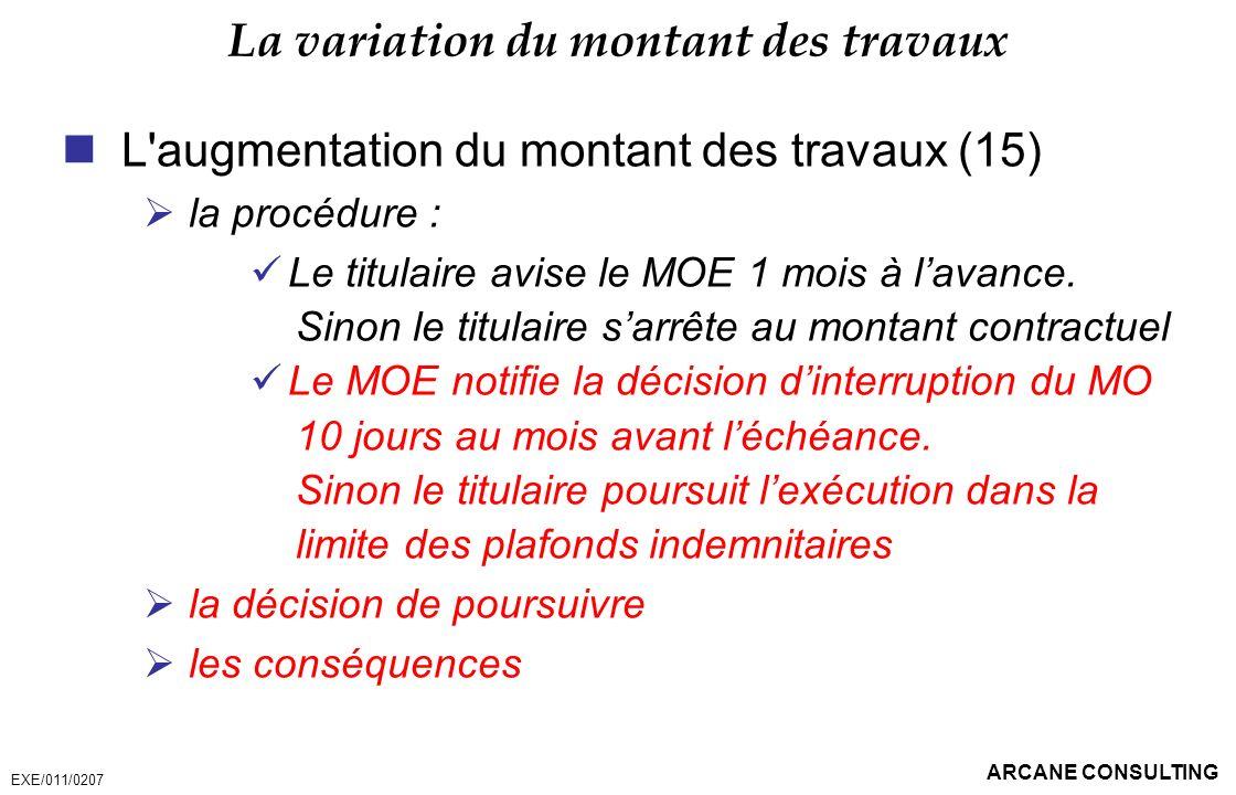 ARCANE CONSULTING La variation du montant des travaux L'augmentation du montant des travaux (15) la procédure : Le titulaire avise le MOE 1 mois à lav