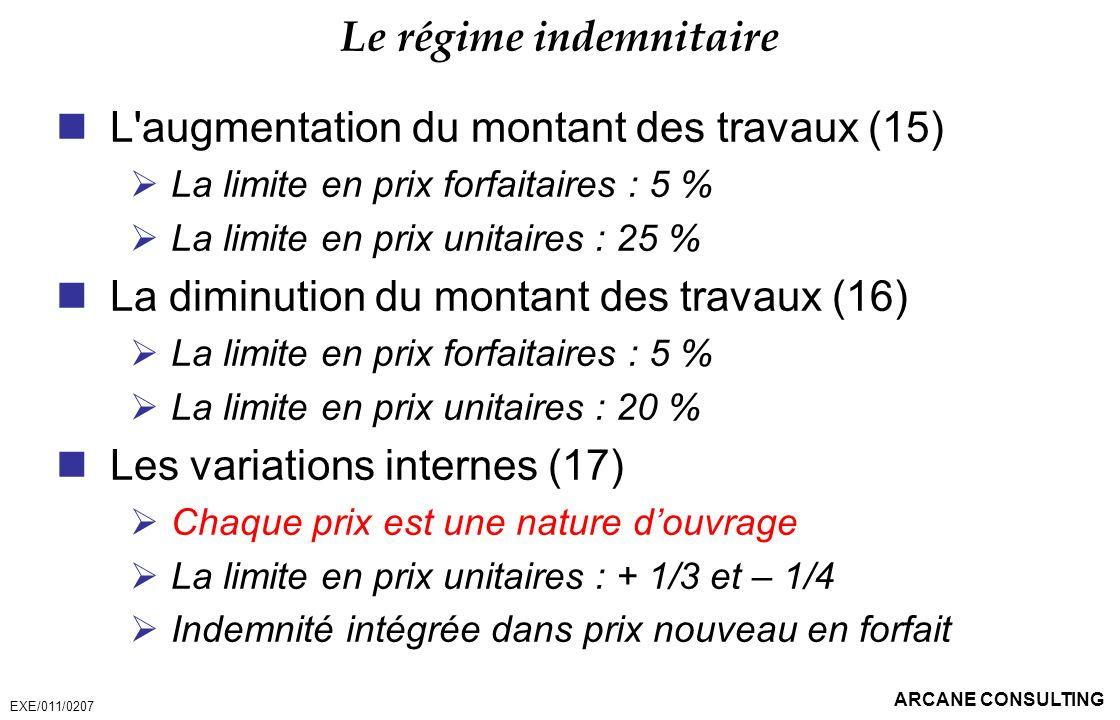 ARCANE CONSULTING Le régime indemnitaire L'augmentation du montant des travaux (15) La limite en prix forfaitaires : 5 % La limite en prix unitaires :