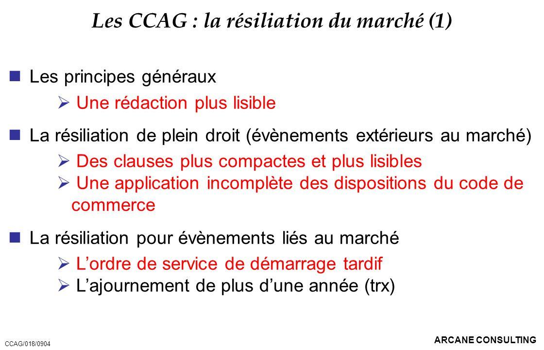ARCANE CONSULTING Les CCAG : la résiliation du marché (1) Les principes généraux Une rédaction plus lisible La résiliation de plein droit (évènements