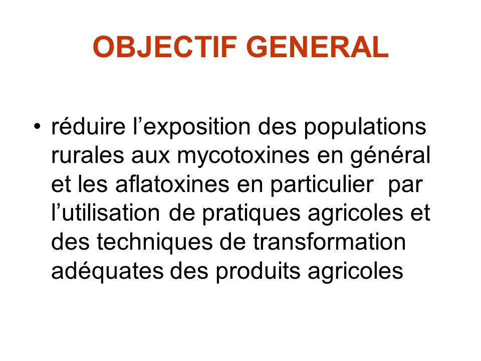 OBJECTIF GENERAL réduire lexposition des populations rurales aux mycotoxines en général et les aflatoxines en particulier par lutilisation de pratique