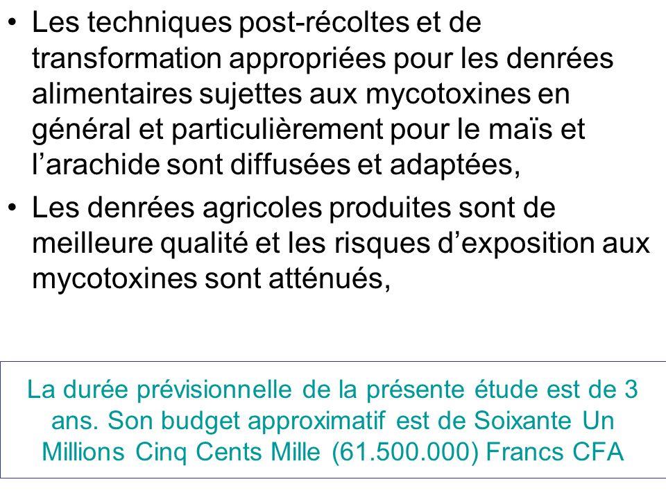 La durée prévisionnelle de la présente étude est de 3 ans. Son budget approximatif est de Soixante Un Millions Cinq Cents Mille (61.500.000) Francs CF
