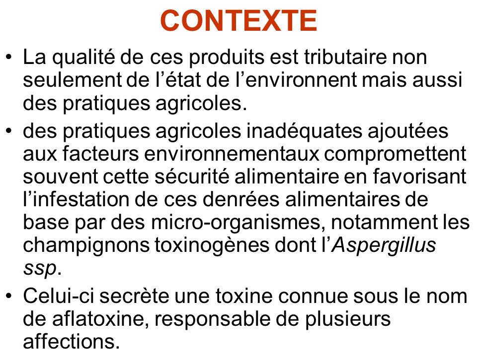 CONTEXTE La qualité de ces produits est tributaire non seulement de létat de lenvironnent mais aussi des pratiques agricoles. des pratiques agricoles