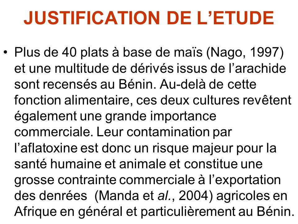 JUSTIFICATION DE LETUDE Plus de 40 plats à base de maïs (Nago, 1997) et une multitude de dérivés issus de larachide sont recensés au Bénin. Au-delà de
