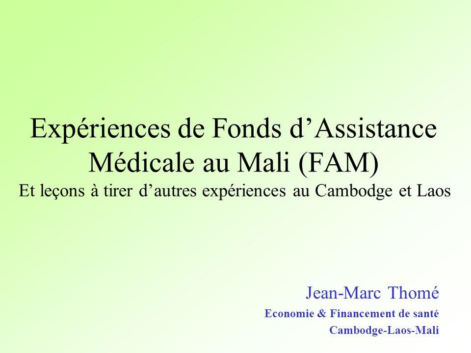 Expériences de Fonds dAssistance Médicale au Mali (FAM) Et leçons à tirer dautres expériences au Cambodge et Laos Jean-Marc Thomé Economie & Financeme