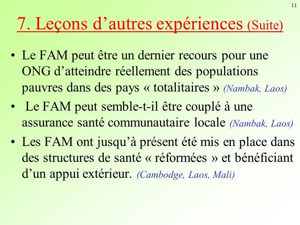 11 Le FAM peut être un dernier recours pour une ONG datteindre réellement des populations pauvres dans des pays « totalitaires » (Nambak, Laos) Le FAM