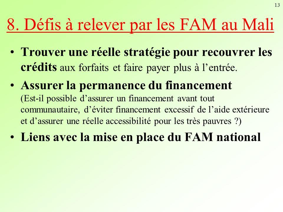 13 8. Défis à relever par les FAM au Mali Trouver une réelle stratégie pour recouvrer les crédits aux forfaits et faire payer plus à lentrée. Assurer