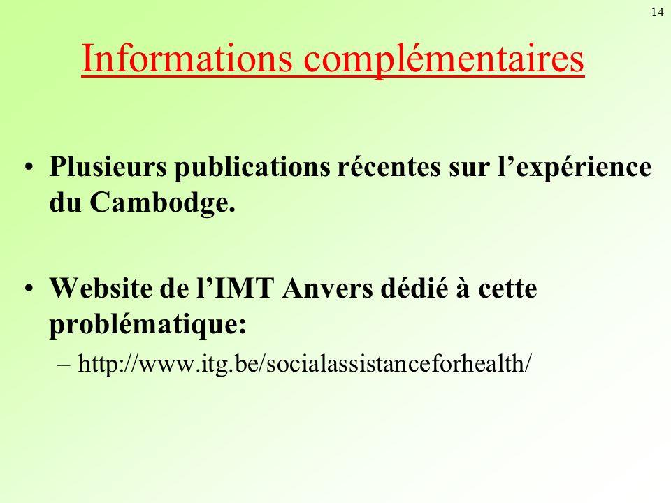 14 Informations complémentaires Plusieurs publications récentes sur lexpérience du Cambodge. Website de lIMT Anvers dédié à cette problématique: –http