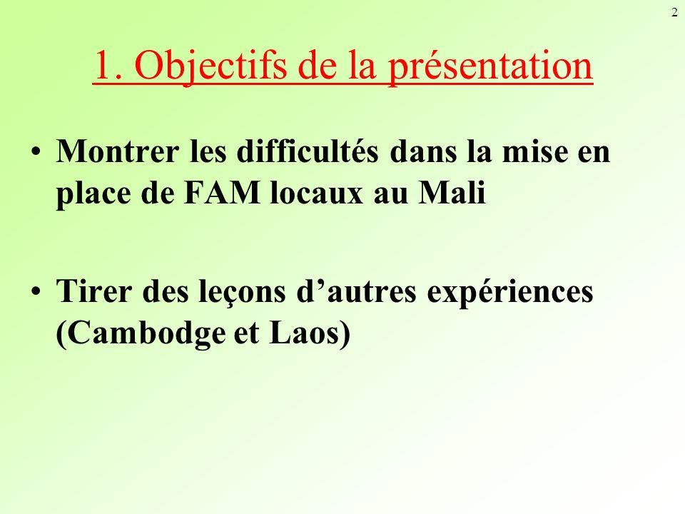 2 1. Objectifs de la présentation Montrer les difficultés dans la mise en place de FAM locaux au Mali Tirer des leçons dautres expériences (Cambodge e