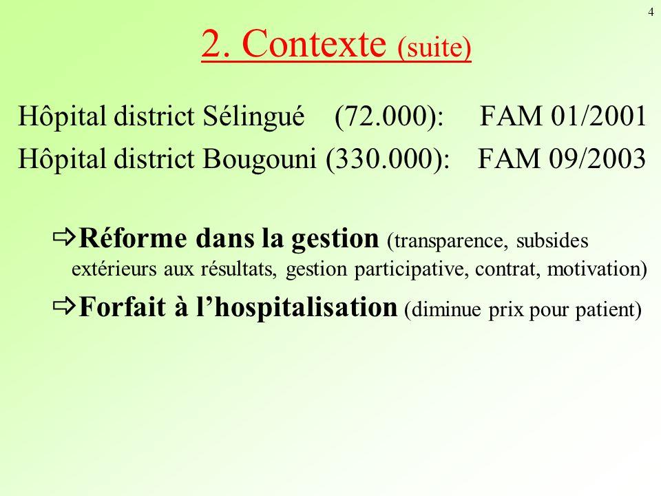 4 2. Contexte (suite) Hôpital district Sélingué (72.000): FAM 01/2001 Hôpital district Bougouni (330.000): FAM 09/2003 Réforme dans la gestion (transp