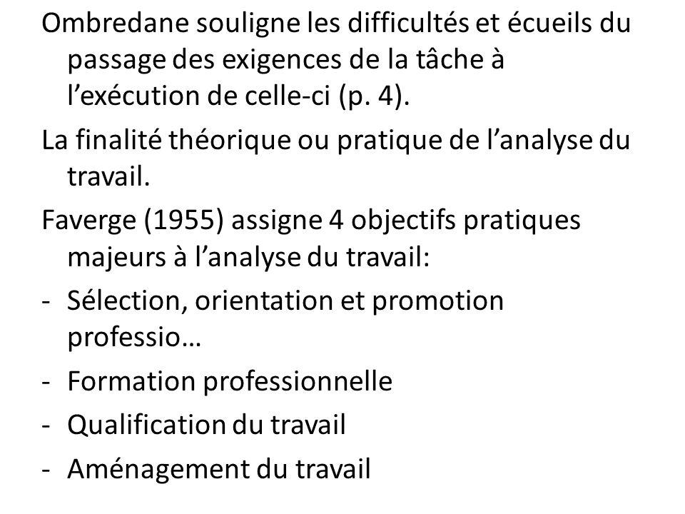 Ombredane souligne les difficultés et écueils du passage des exigences de la tâche à lexécution de celle-ci (p. 4). La finalité théorique ou pratique