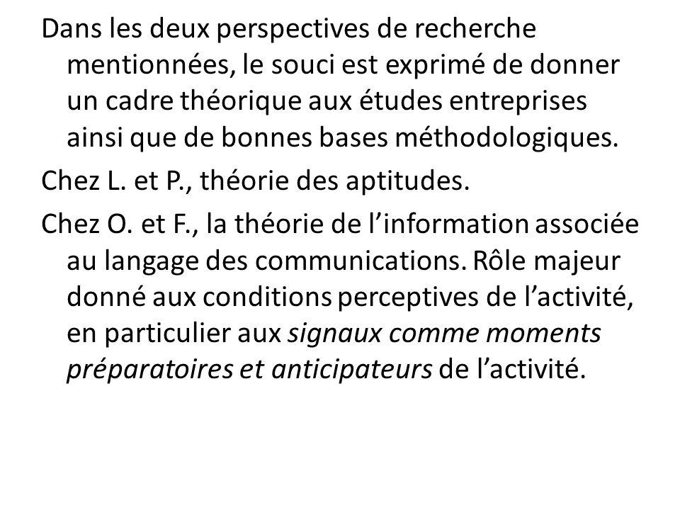 Dans les deux perspectives de recherche mentionnées, le souci est exprimé de donner un cadre théorique aux études entreprises ainsi que de bonnes base