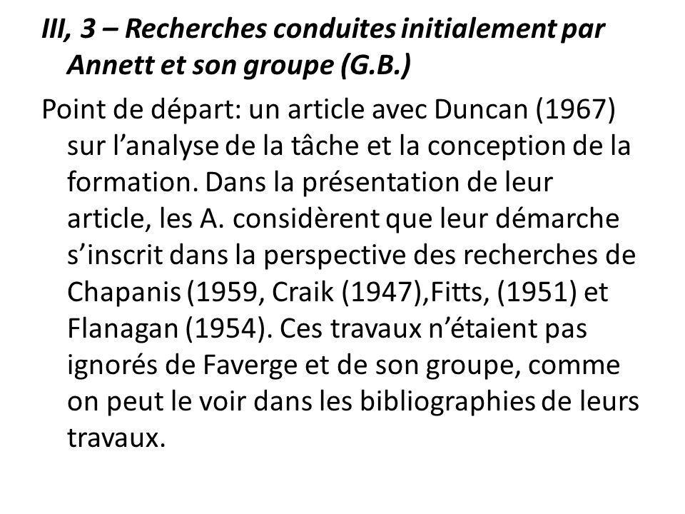 III, 3 – Recherches conduites initialement par Annett et son groupe (G.B.) Point de départ: un article avec Duncan (1967) sur lanalyse de la tâche et
