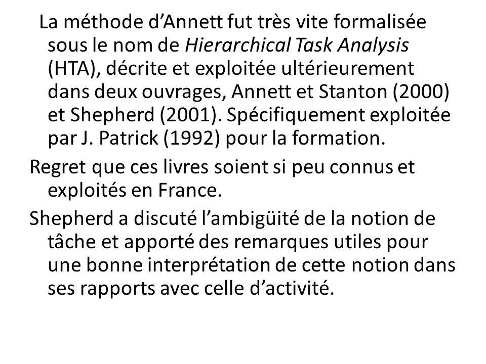 La méthode dAnnett fut très vite formalisée sous le nom de Hierarchical Task Analysis (HTA), décrite et exploitée ultérieurement dans deux ouvrages, A