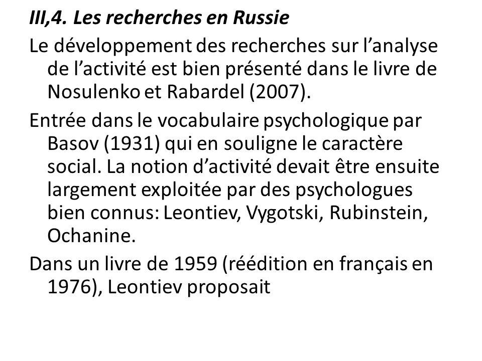 III,4. Les recherches en Russie Le développement des recherches sur lanalyse de lactivité est bien présenté dans le livre de Nosulenko et Rabardel (20