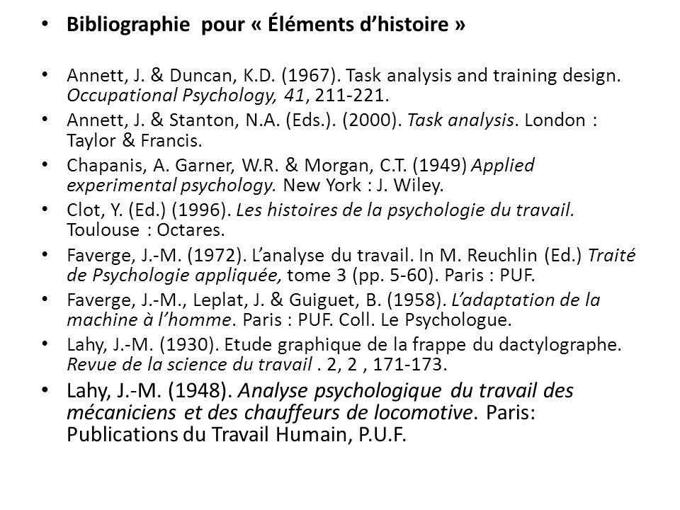 Bibliographie pour « Éléments dhistoire » Annett, J. & Duncan, K.D. (1967). Task analysis and training design. Occupational Psychology, 41, 211-221. A