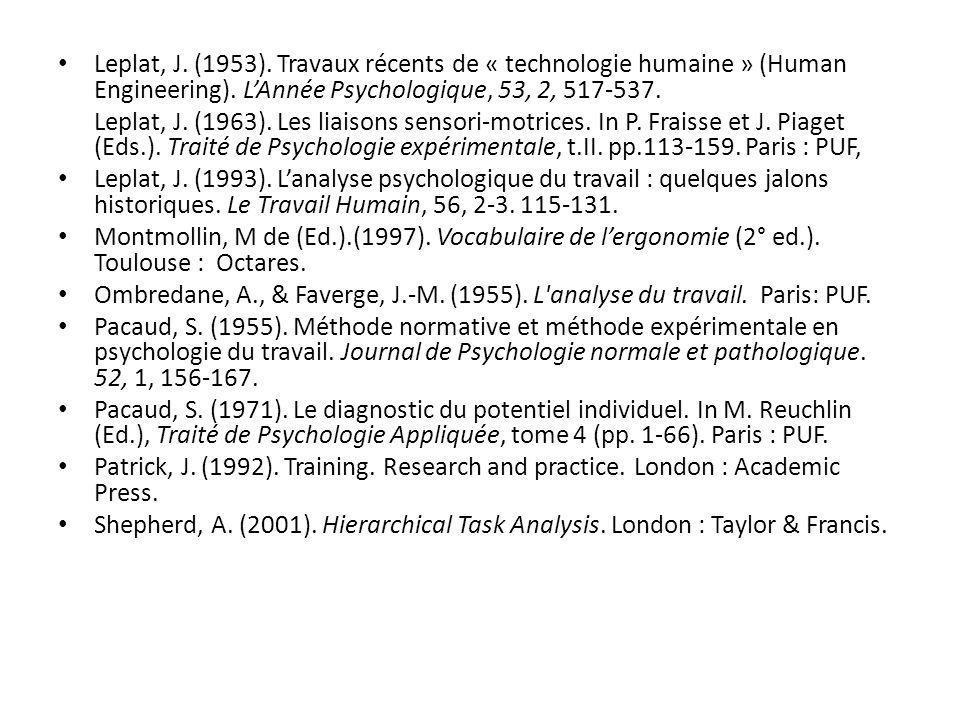 Leplat, J. (1953). Travaux récents de « technologie humaine » (Human Engineering). LAnnée Psychologique, 53, 2, 517-537. Leplat, J. (1963). Les liaiso