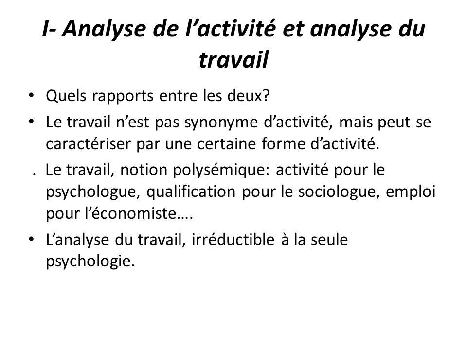 I- Analyse de lactivité et analyse du travail Quels rapports entre les deux? Le travail nest pas synonyme dactivité, mais peut se caractériser par une