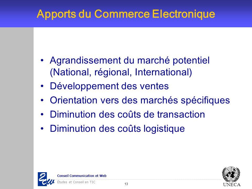 13 Conseil Communication et Web Études et Conseil en TIC UNECA Apports du Commerce Electronique Agrandissement du marché potentiel (National, régional