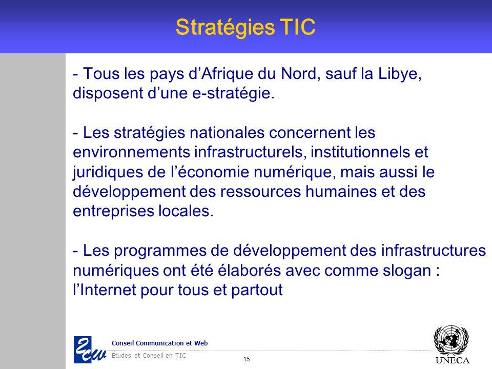 15 Conseil Communication et Web Études et Conseil en TIC UNECA Stratégies TIC UNECA - Tous les pays dAfrique du Nord, sauf la Libye, disposent dune e-