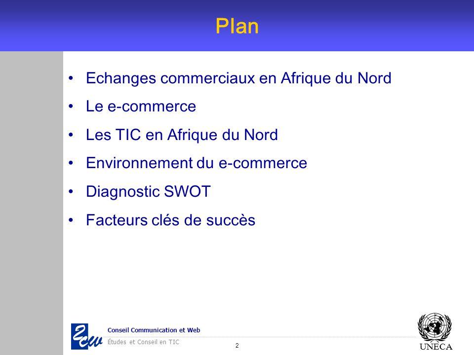 3 Conseil Communication et Web Études et Conseil en TIC UNECA Etudes pays UNECA - Pays concernés: Egypte, Maroc, Mauritanie, Tunisie - Plan de létude: - Le commerce extérieur - Stratégies TIC - Indicateurs TIC - Pratiques du e-commerce - Environnement du e-commerce - Disposition à intégrer une plateforme régionale de e-commerce