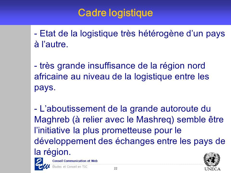22 Conseil Communication et Web Études et Conseil en TIC UNECA Cadre logistique UNECA - Etat de la logistique très hétérogène dun pays à lautre. - trè