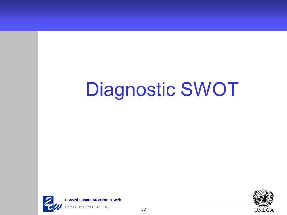 23 Conseil Communication et Web Études et Conseil en TIC UNECA Diagnostic SWOT