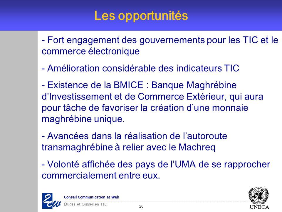 26 Conseil Communication et Web Études et Conseil en TIC UNECA Les opportunités UNECA - Fort engagement des gouvernements pour les TIC et le commerce