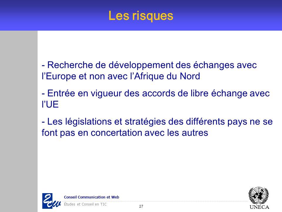 27 Conseil Communication et Web Études et Conseil en TIC UNECA Les risques UNECA - Recherche de développement des échanges avec lEurope et non avec lA