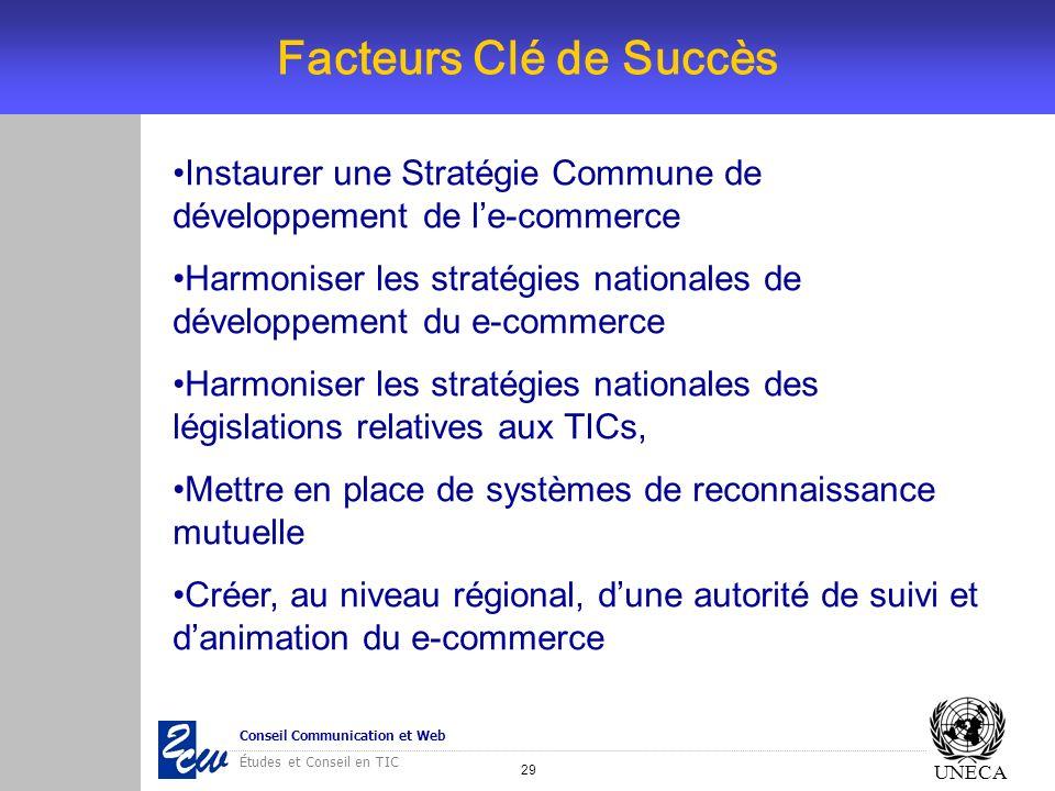 29 Conseil Communication et Web Études et Conseil en TIC UNECA Instaurer une Stratégie Commune de développement de le-commerce Harmoniser les stratégi
