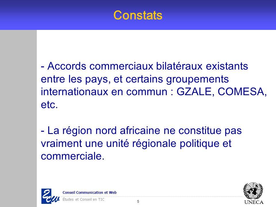 5 Conseil Communication et Web Études et Conseil en TIC UNECA Constats UNECA - Accords commerciaux bilatéraux existants entre les pays, et certains gr