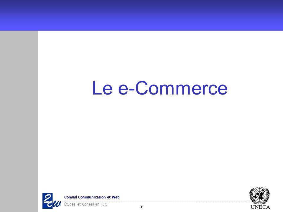 20 Conseil Communication et Web Études et Conseil en TIC UNECA Cadres législatif et institutionnel Pays Indicateur AlgérieLibyeMarocMauritanieTunisieEgypteSoudan Loi sur le e- Commerce En cours- Oui (2006) Oui (2006) Oui (2000) Oui (2004) - Autorité de certification électronique -- Oui ANRT - Oui ANCE Oui ITIDA - Autorité de défense du consommateur -Oui- - Loi sur la protection des données personnelles ---- Oui (2000) --