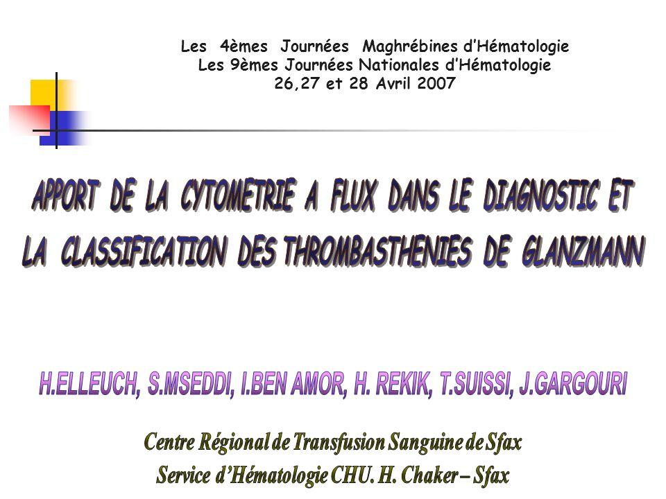 Les 4èmes Journées Maghrébines dHématologie Les 9èmes Journées Nationales dHématologie 26,27 et 28 Avril 2007