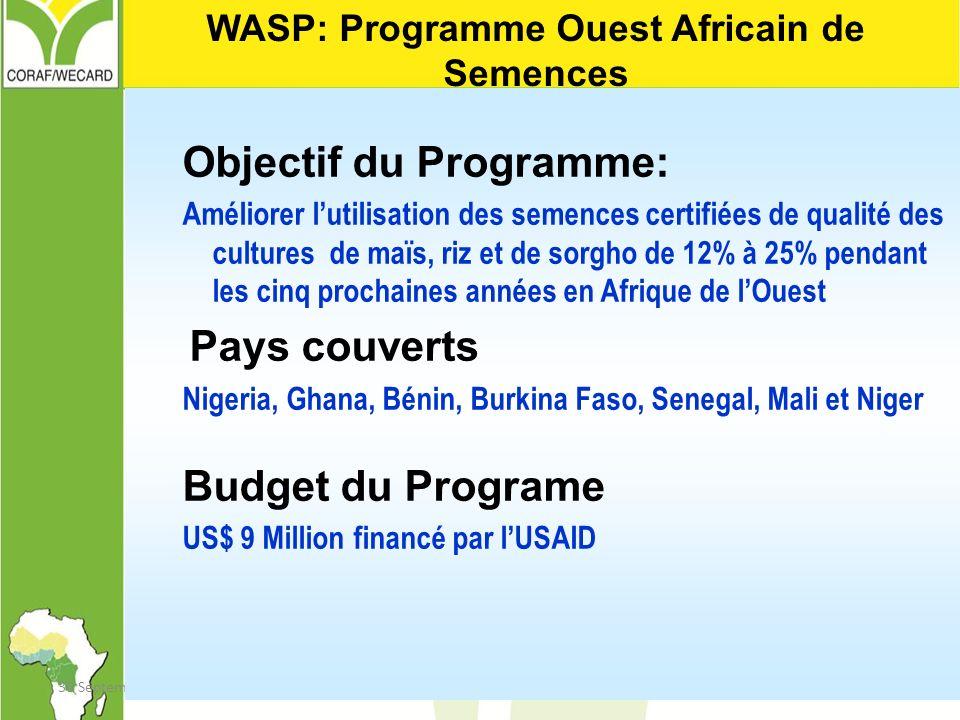 30 September 2001Indicators and targets16 Objectif du Programme: Améliorer lutilisation des semences certifiées de qualité des cultures de maïs, riz e