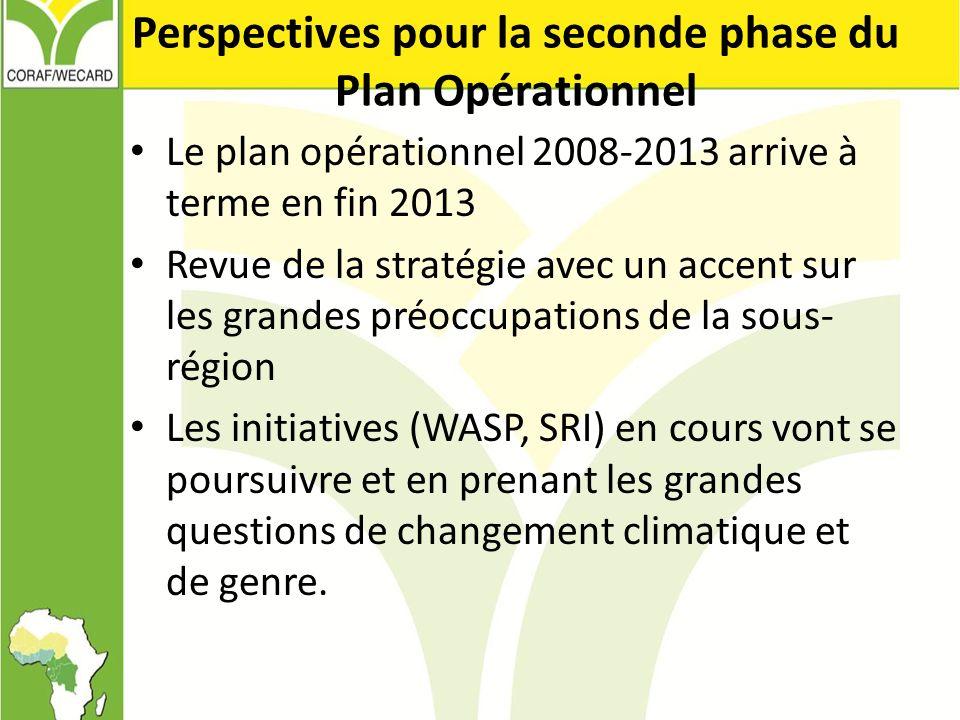 Perspectives pour la seconde phase du Plan Opérationnel Le plan opérationnel 2008-2013 arrive à terme en fin 2013 Revue de la stratégie avec un accent