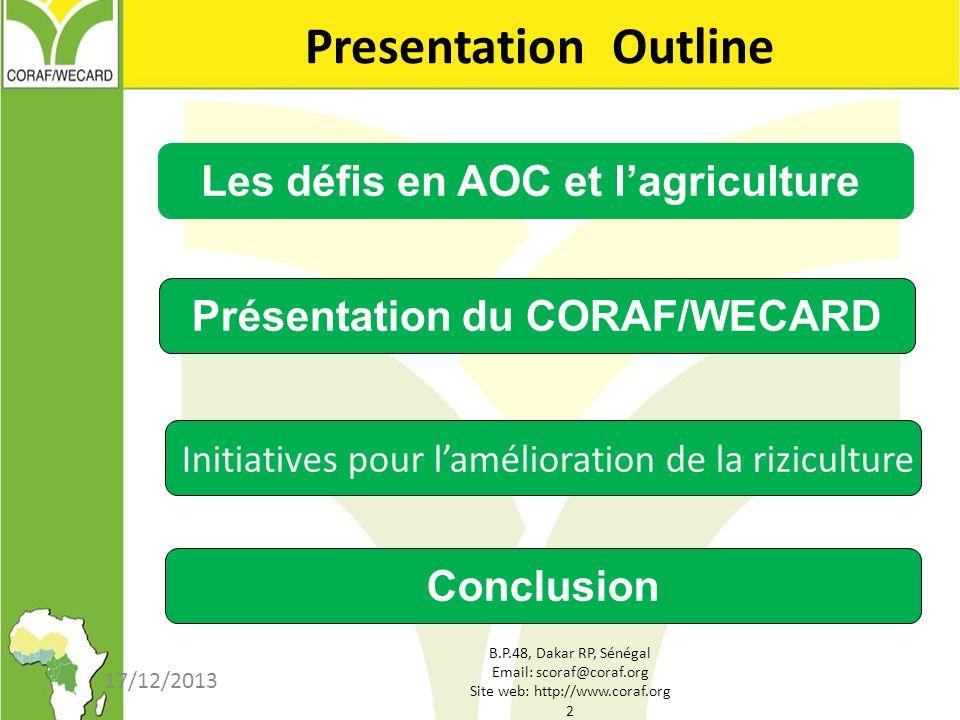 B.P.48, Dakar RP, Sénégal Email: scoraf@coraf.org Site web: http://www.coraf.org 2 17/12/2013 Presentation Outline Les défis en AOC et lagriculture Pr