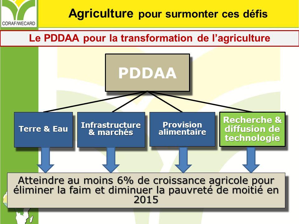 PDDAA Provision alimentaire Terre & Eau Infrastructure & marchés Recherche & diffusion de technologie Atteindre au moins 6% de croissance agricole pou