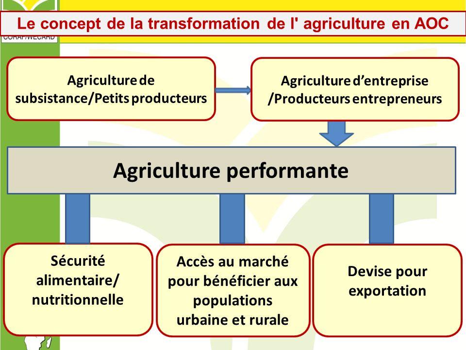 Le concept de la transformation de l' agriculture en AOC Sécurité alimentaire/ nutritionnelle Accès au marché pour bénéficier aux populations urbaine