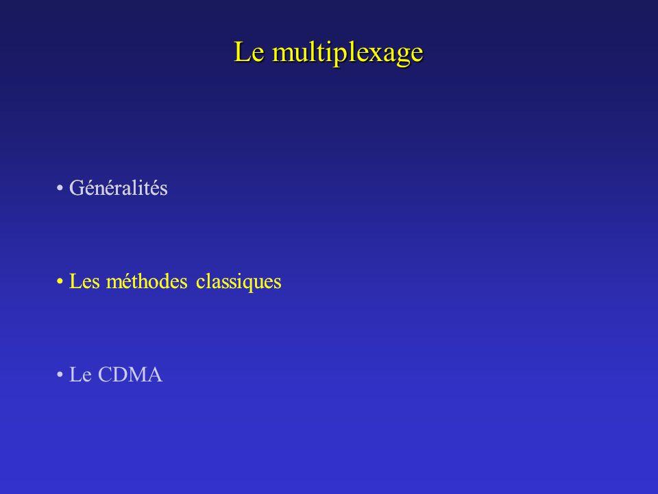 Le multiplexage Les méthodes classiques Généralités Le CDMA Généralités Les méthodes classiques